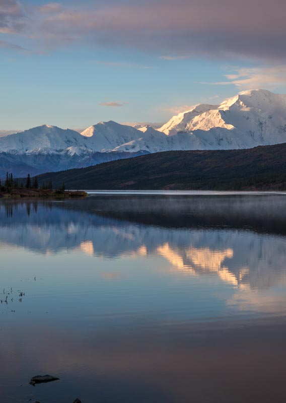 Denali reflecting on Wonder Lake at sunset in Denali National Park