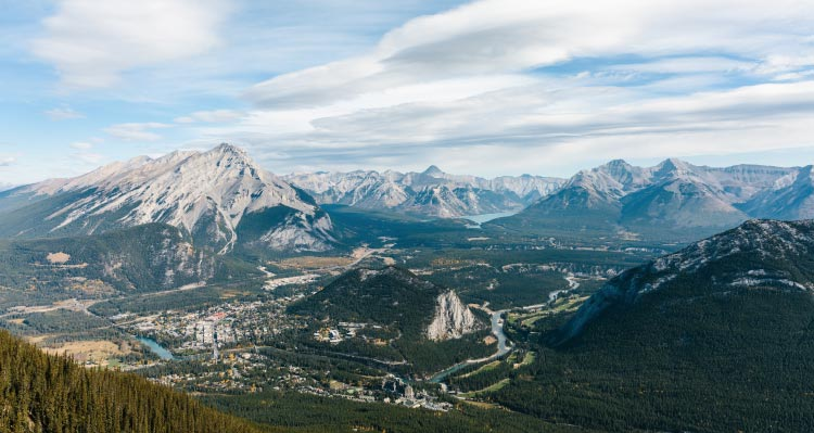 A view of Banff from the Banff Gondola, showing mountains, lakes and deep valleys.