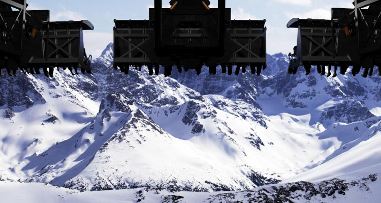 A view of the FlyOver Canada ride showing an icy mountain view.
