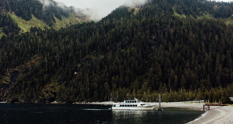 A boat at a small dock below tree covered mountainsides.